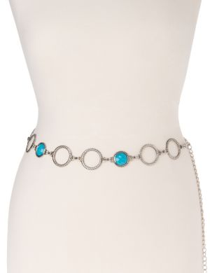 Faux turquoise chain belt
