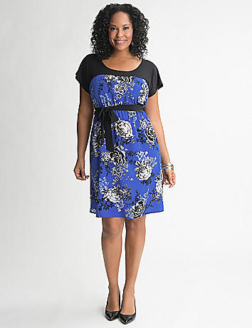 Mixed material floral dress by Lane Bryant