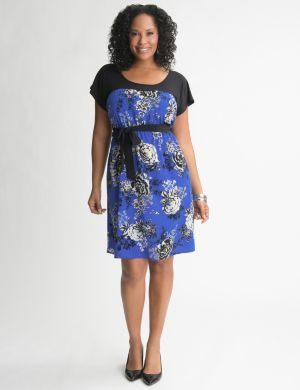 Mixed material floral dress