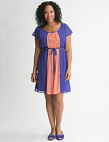 Colorblock Chiffon Dress by Lane Bryant