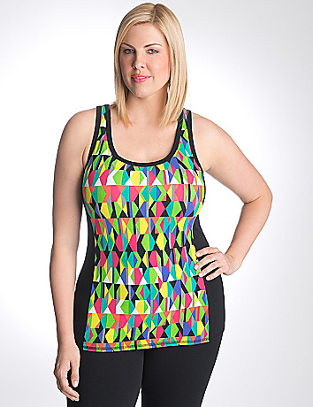 Full figure geo print active tank