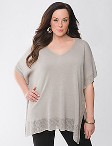 Lane Collection border trim poncho by Lane Bryant
