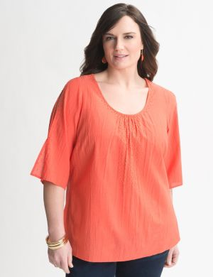 Beaded cold shoulder top