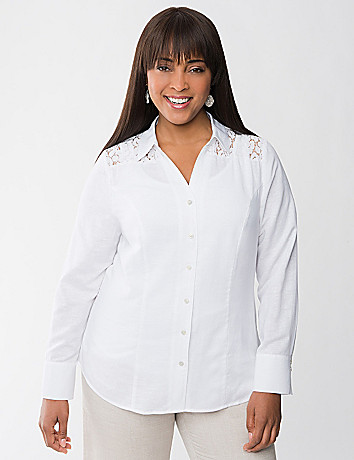 Lace shoulder linen shirt by Lane Bryant