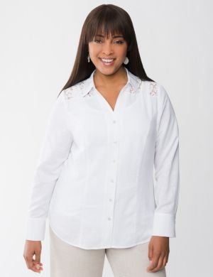 Lace shoulder linen shirt