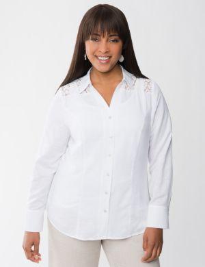 Lace shoulder linen shirt