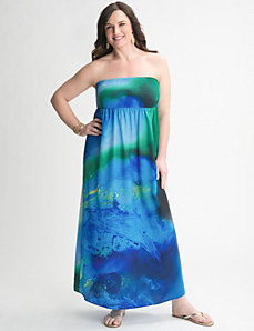 Watercolor Strapless Maxi Dress by Lane Bryant