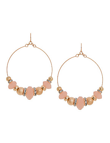 Rings & Beads Hoop Drop Earrings by Lane Bryant