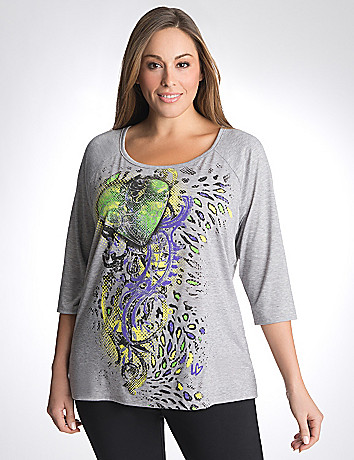 Full Figure Graphic Baseball Tee by Lane Bryant