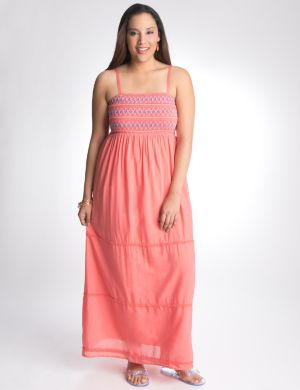 Smocked contrast stitch maxi dress