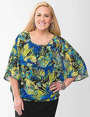 Plus Size Palm Print Blouse by Lane Bryant