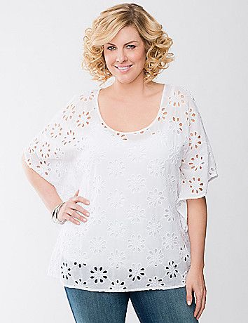 Plus Size Eyelet Cold Shoulder Top by Lane Bryant