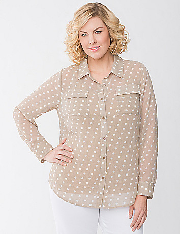 Polka dot crinkled Top by Lane Bryant