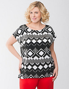 Full Figure Ikat Embellished Top by Lane Bryant