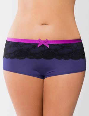 Lace & ribbon boyshort panty