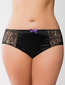 Embroidered lace hipster panty