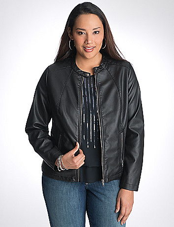 Full Figure Ribbed Faux Leather Moto Jacket by Lane Bryant