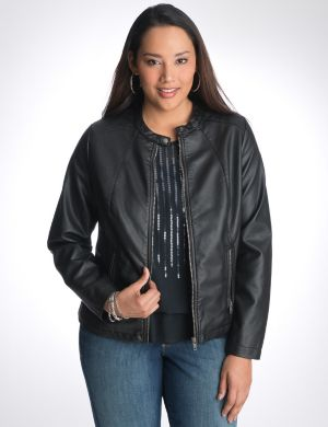 Ribbed faux leather moto jacket