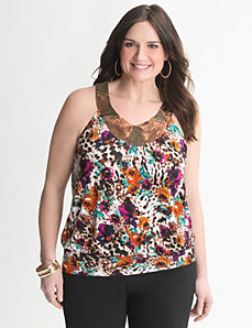 Sequin mixed print halter top