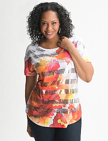 Sequin stripe floral tee