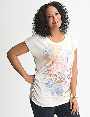Floral shirred side tee
