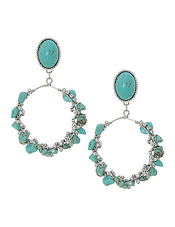 Lane Collection faux turquoise hoop earrings