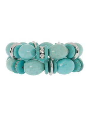 Lane Collection faux turquoise stretch bracelet duo