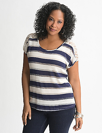 Lace shoulder striped tee