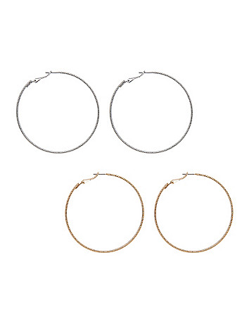 Textured hoop earrings duo by Lane Bryant