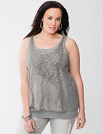 Plus Size Beaded lace layered tank by Lane Bryant