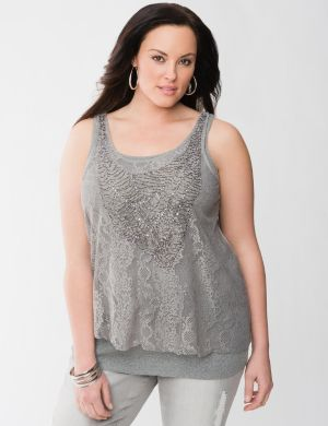 Beaded lace layered tank