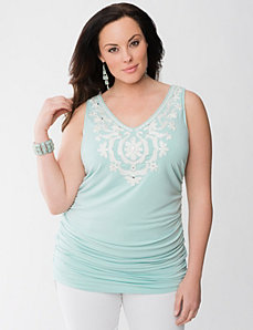 Embellished shirred tank by Lane Bryant