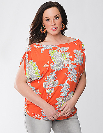 Lane Collection print V-neck top
