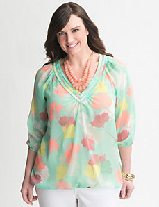 Floral bubble hem Top by Lane Bryant