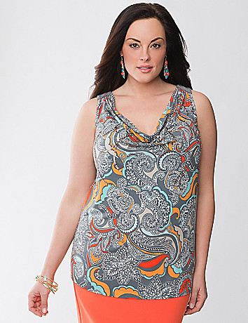 Lane Collection embellished cowl tank