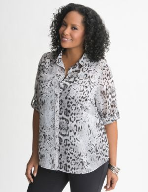 Animal print utility blouse