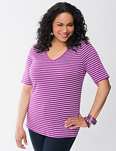 Striped V-neck tee by Lane Bryant