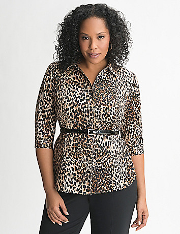 Animal print 3/4 sleeve shirt by Lane Bryant