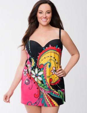 Swirl print swim dress with built in bra