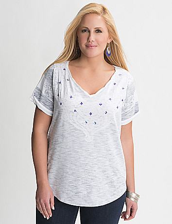 Sequin lace print tee