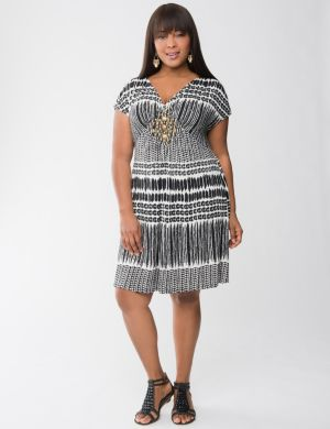 Tribal print embellished dress