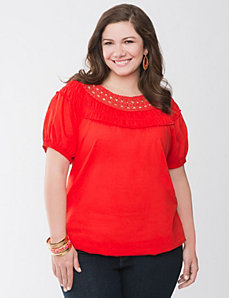 Crochet neckline top by LANE BRYANT