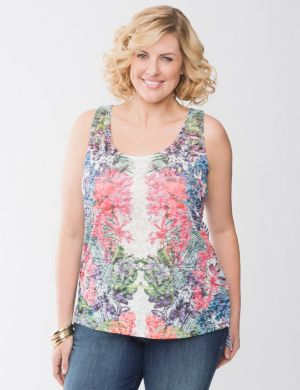 Floral & stripe high-low tank