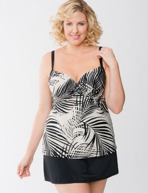 Palm print swim tank with built in balconette bra