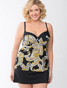 Paisley swim tank with built in balconette bra by Cacique