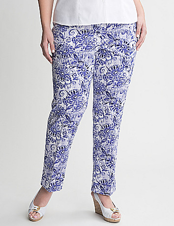 Floral sateen ankle pant