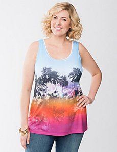 Palm print twist back tank by Lane Bryant