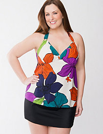 Floral swim tank with built in no wire bra