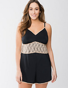 Satin & lace romper by Cacique