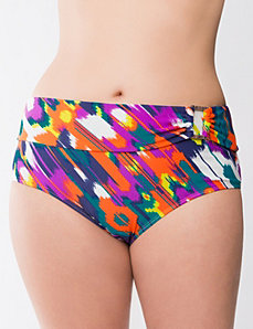 Island print swim hipster by LANE BRYANT